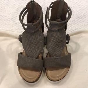 Diba true gray suede wedged sandals